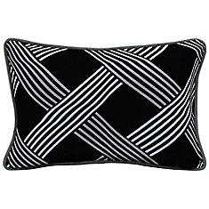 Black Lattice Lumbar Throw Pillow