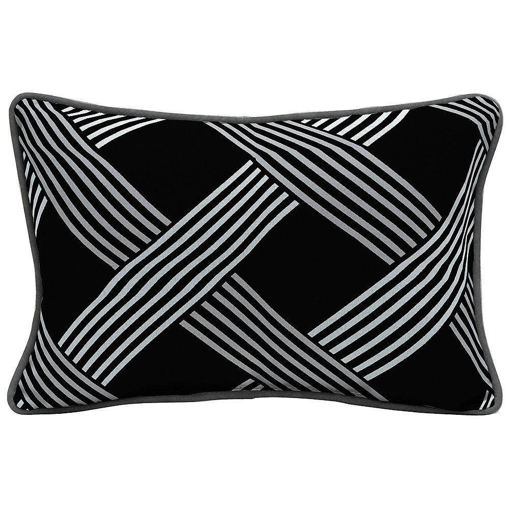 Hampton Bay Black Lattice Lumbar Throw Pillow