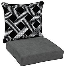 Black Lattice 2 Piece Deep Seating Lounge Chair Cushion