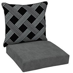 Hampton Bay Black Lattice 2-Piece Deep Seating Lounge Chair Cushion