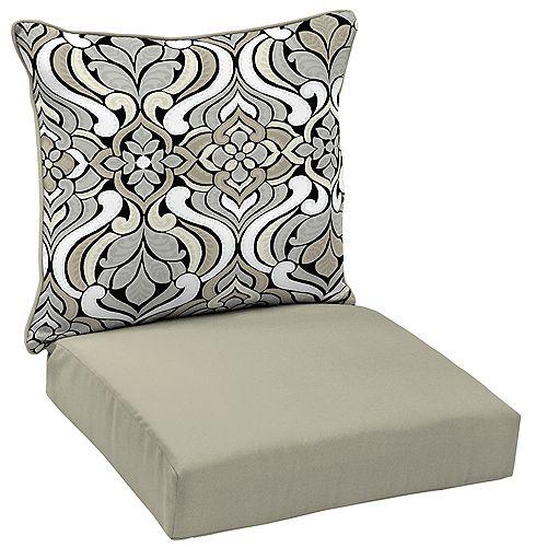 Hampton Bay Black & Gray Tile 2-Piece Deep Seating Lounge Chair Cushion