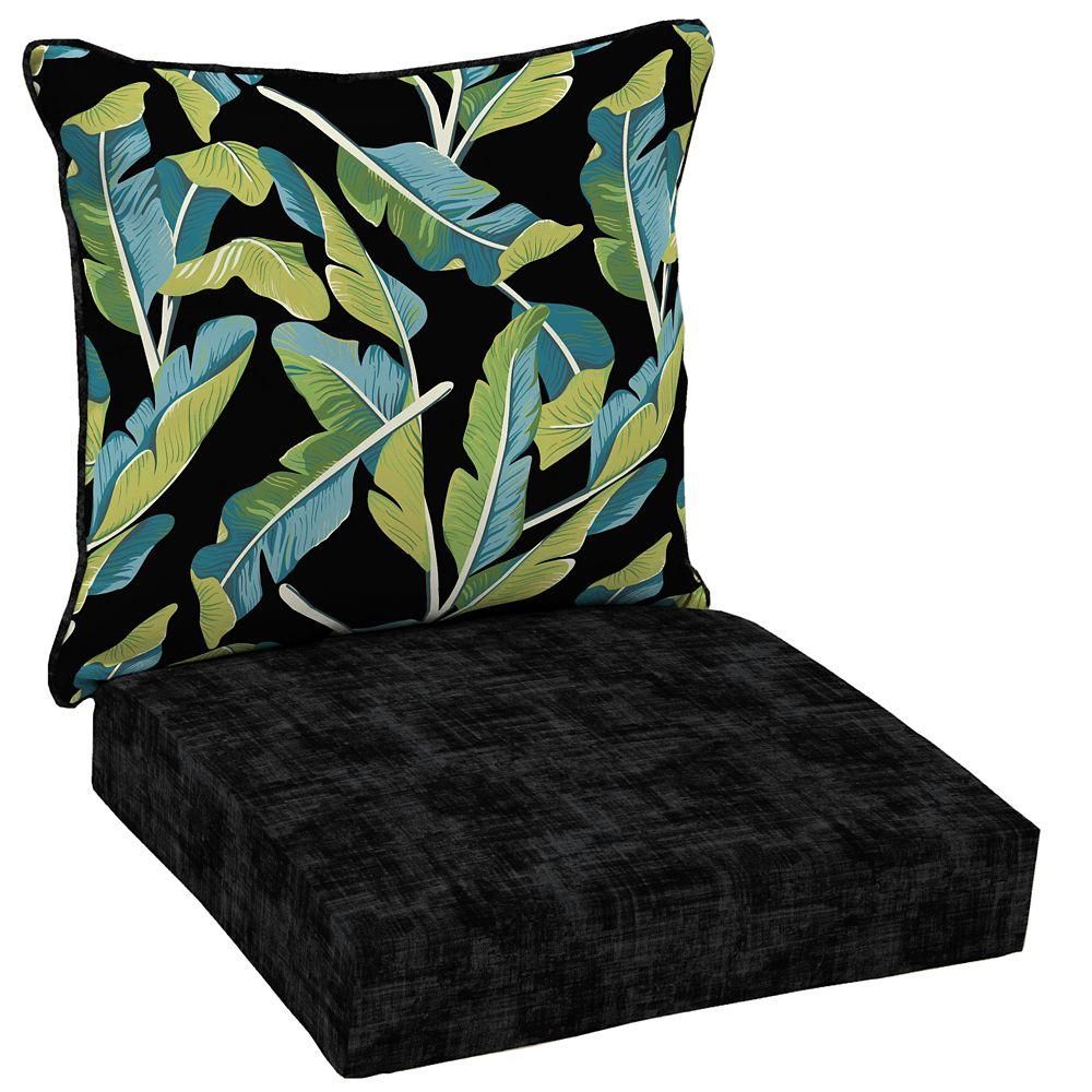 Hampton Bay Banana Leaf Tropical 2-Piece Deep Seating Lounge Chair Cushion
