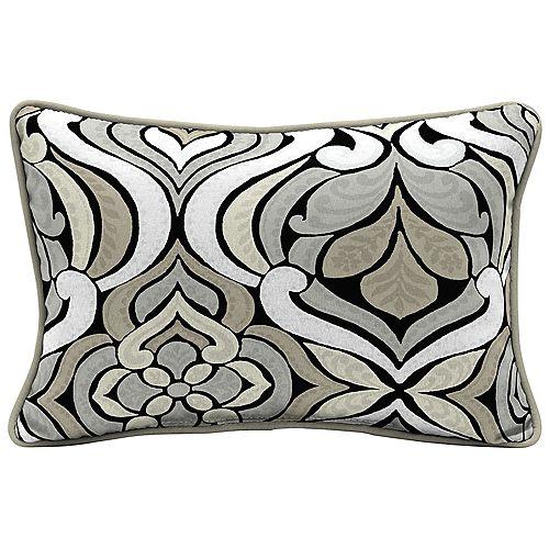 Hampton Bay Black & Gray Tile Lumbar Throw Pillow