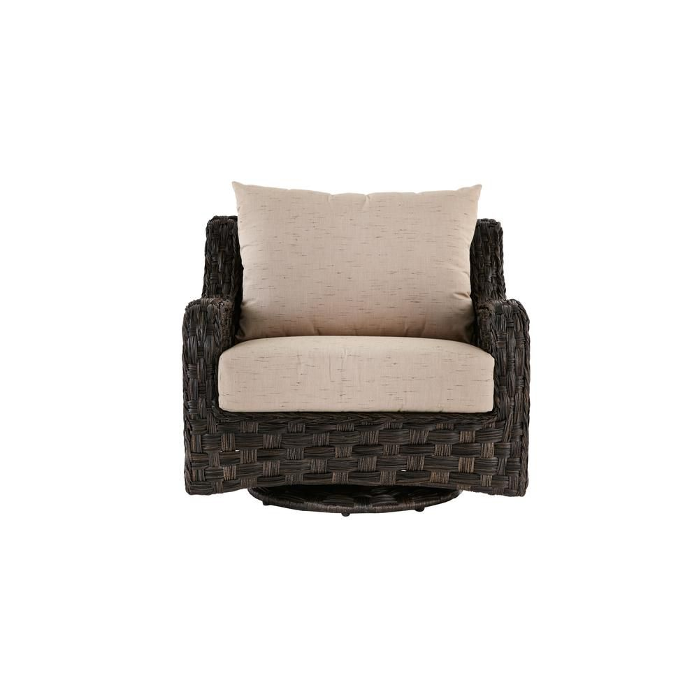 Home Decorators Collection Sunset Point Outdoor Patio Swivel Glider Lounge Chair with Sand Cushions