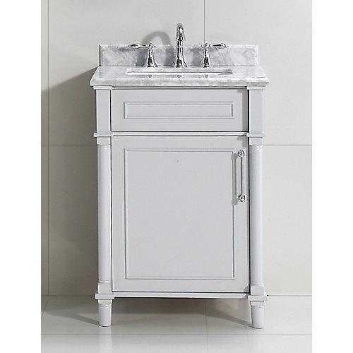 Aberdeen 24-inch Grey Single Sink Vanity with Carrara Marble Top