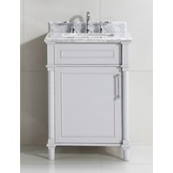 Home Decorators Collection Aberdeen 24-inch Grey Single Sink Vanity with Carrara Marble Top