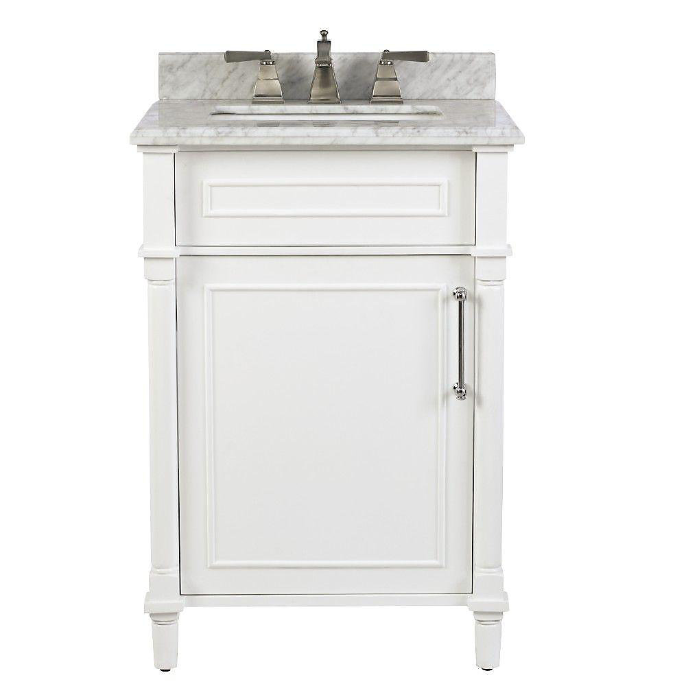 Home Decorators Collection Aberdeen 24 Inch White Single Sink Vanity With Carrara Marble T