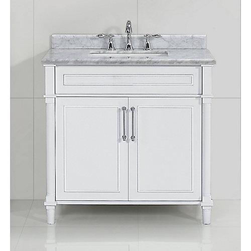 Aberdeen 36-inch White Single Sink Vanity with Carrara Marble Top