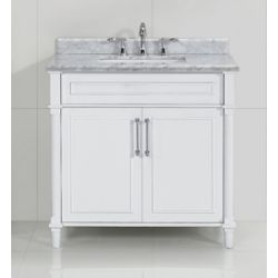 Home Decorators Collection Aberdeen 36-inch White Single Sink Vanity with Carrara Marble Top