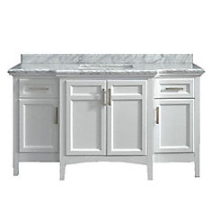 Sassy 60 White Single Sink Vanity with Carrara Marble Top