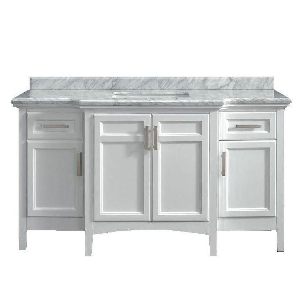 Ove Decors Sassy 60 White Single Sink Vanity with Carrara Marble Top