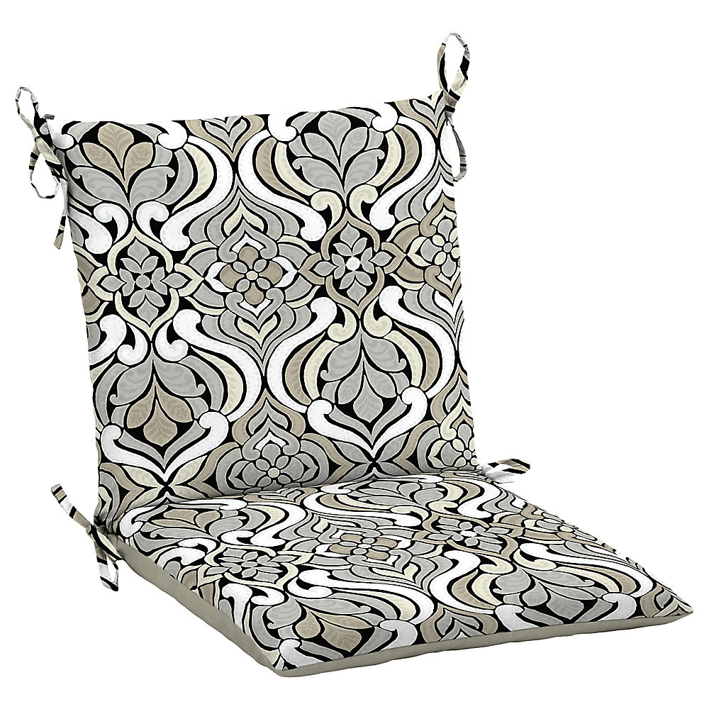 Hampton Bay Black Amp Gray Tile Dining Chair Cushion The