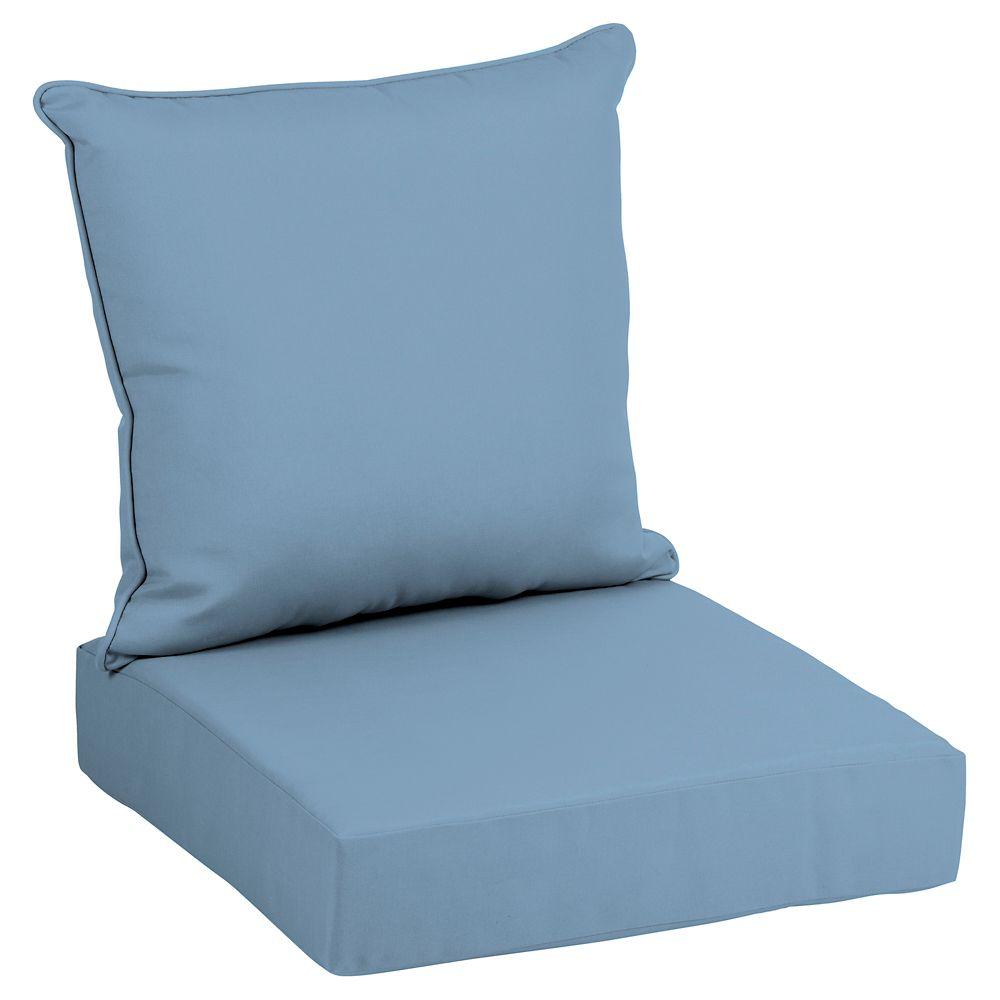 Hampton Bay CushionGuard Washed Denim 2-Piece Deep Seating Lounge Chair Cushion