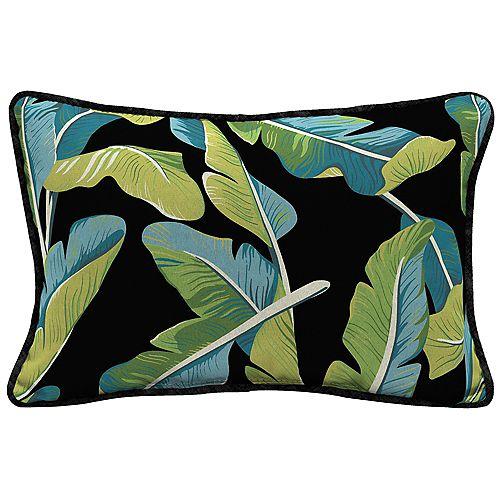 Hampton Bay Banana Leaf Tropical Lumbar Throw Pillow