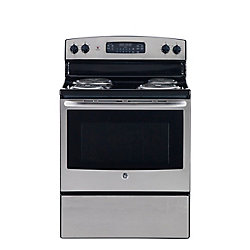 GE 30-inch 5.0 cu. ft. Single Oven Electric Range with Self Cleaning in Stainless Steel