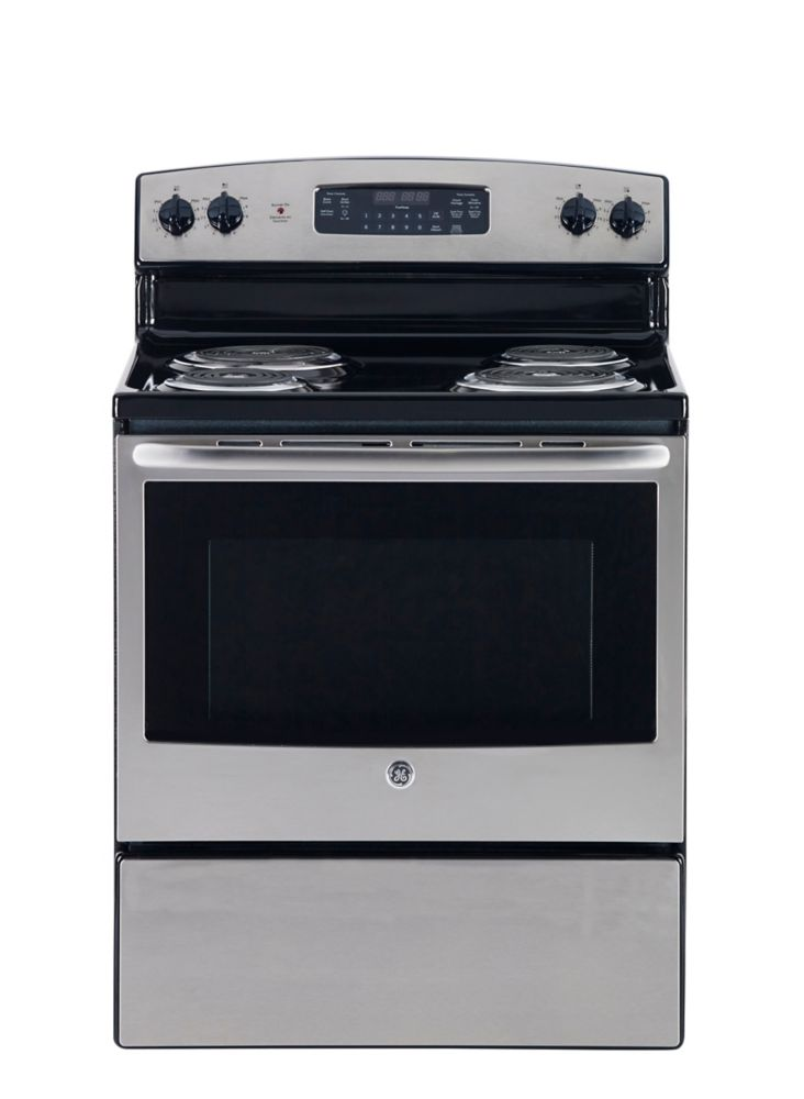 GE 30 inch Free Standing Electric Self Cleaning Range - Stainless Steel