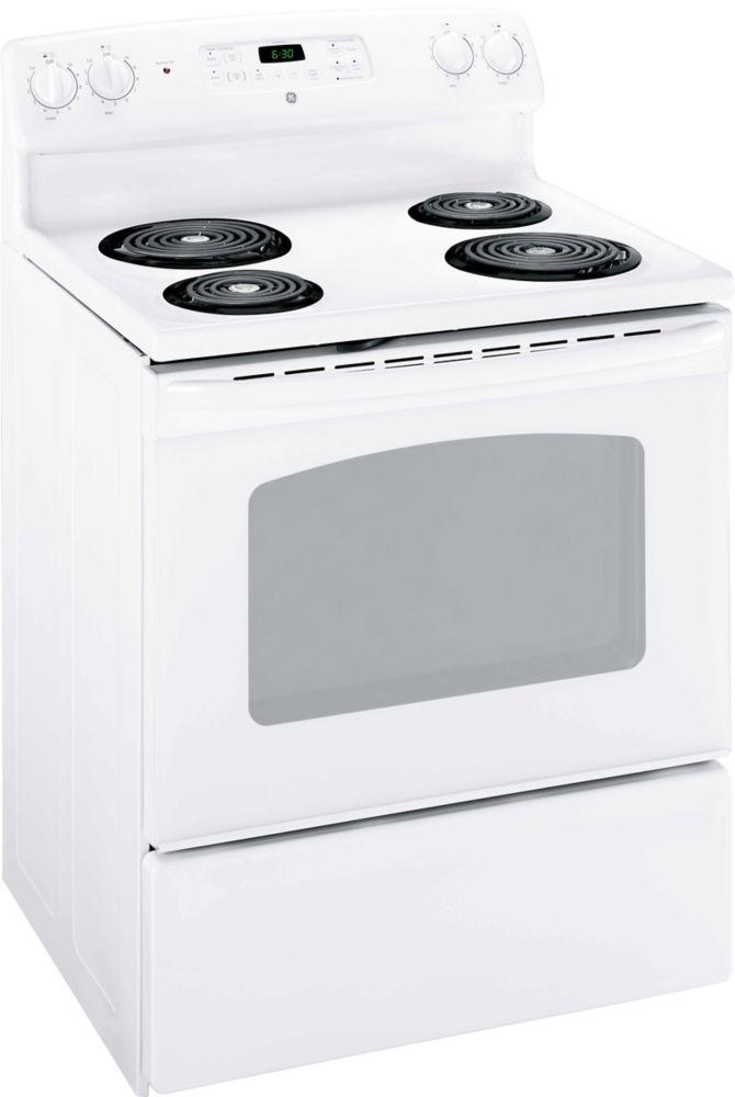 GE 30 inch Free Standing Standard Clean Range- White