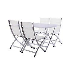 Brunch Folding Table and Bachelor Chairs 5 pc Set - White