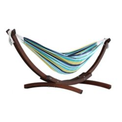 Vivere Double Cotton Hammock with Solid Pine Arc Stand  - Cayo Reef (8 ft.)  (FSC Certified)