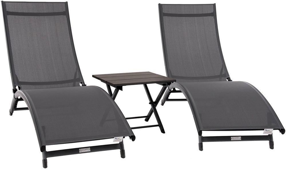 Vivere Coral Springs Lounger 3 Pc Set - Aluminum - Grey on Matte Black