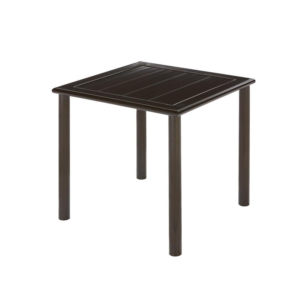 Hampton Bay Table d'appoint de jardin Sterling brune, aluminium, carrée en lattes, 18 po, qualité commerciale