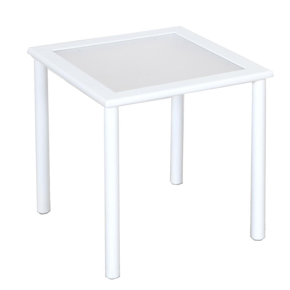 Table d\'appoint de jardin Sterling blanche, aluminium, carrée en lattes, 18  po, qualité commerciale