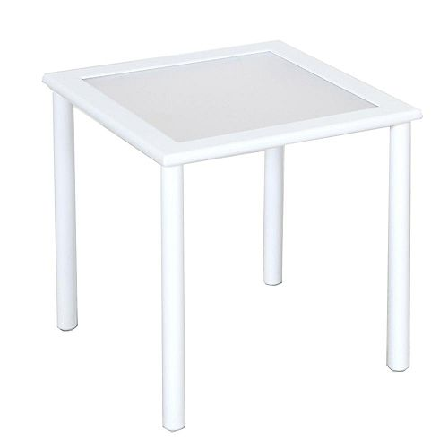 Hampton Bay Sterling White Commercial Aluminum 18-inch Square Slat Top Outdoor Patio Side Table