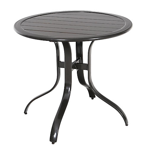 Commercial Sterling Brown Aluminum 30-inch Round Slatted Top Patio Bistro Table