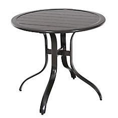 Sterling Brown Commercial Aluminum 30-inch Round Slatted Top Outdoor Patio Bistro Table