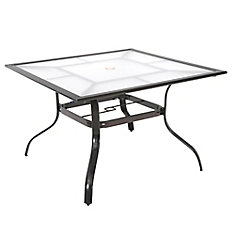 Sterling Brown Commercial Aluminum 42-inch Square Acrylic Top Outdoor Patio Dining Table