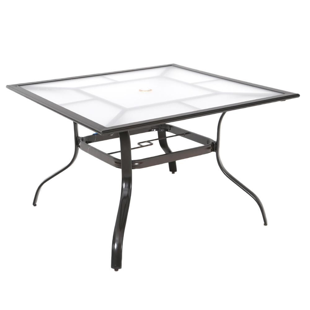 Hampton Bay Sterling Brown Commercial Aluminum 42-inch Square Acrylic Top Outdoor Patio Dining Table