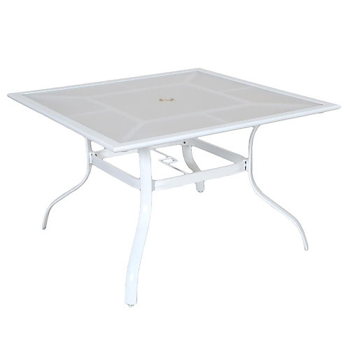 Sterling White Commercial Aluminum 42-inch Square Acrylic Top Outdoor Patio Dining Table