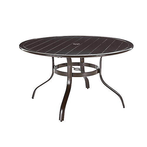 Sterling Commercial Aluminum 48-inch Round Slat Top Outdoor Patio Dining Table in Brown