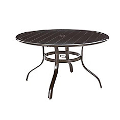 Sterling Brown Commercial Aluminum 48-inch Round Slat Top Outdoor Patio Dining Table