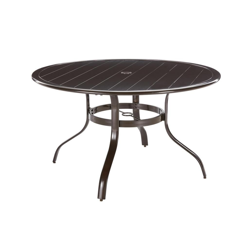 Hampton Bay Sterling Brown Commercial Aluminum 48-inch Round Slat Top Outdoor Patio Dining Table
