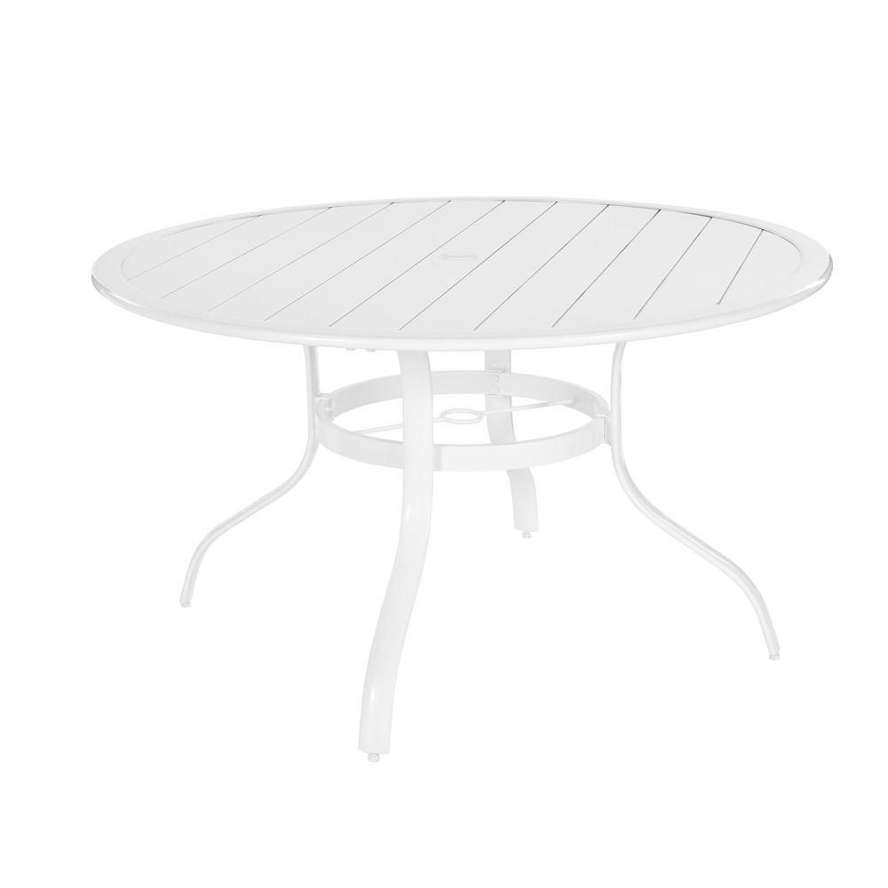 Hampton Bay Sterling White Commercial Aluminum 48-inch Round Slat Top Outdoor Patio Dining Table