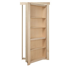 24 inch x 80 inch Flush Mount Assembled Maple Unfinished Right Hand Out-Swing Interior Bookcase Door
