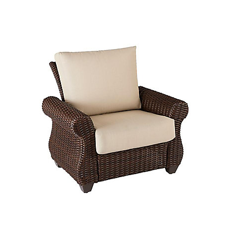 Mill Valley Fully Woven Patio Lounge Chair with Parchment Cushion