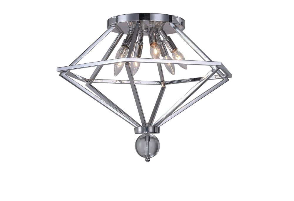 CWI Lighting 23 inch 6 Light Flush Mount with Chrome Finish From our Calista Collection