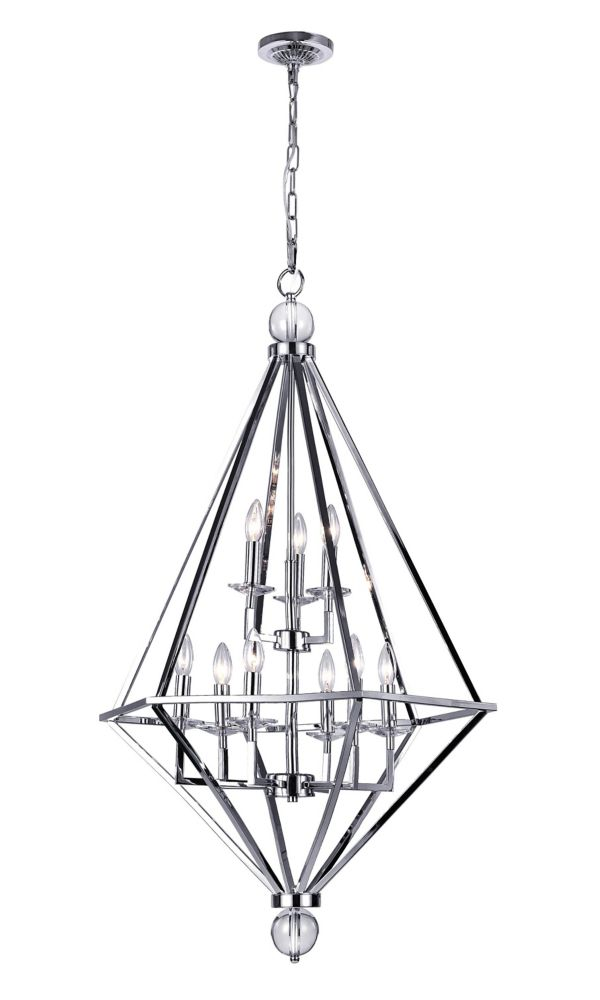 CWI Lighting 26 inch 9 Light Chandelier with Chrome Finish From our Calista Collection