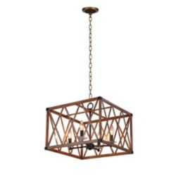 CWI Lighting 18 inch 4 Light Chandelier with Wood Grain Brown Finish From our Marini Collection