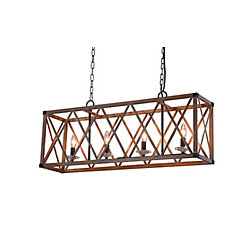 CWI Lighting 36 inch 4 Light Chandelier with Wood Grain Brown Finish From our Marini Collection