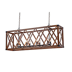 CWI Lighting 51 inch 8 Light Chandelier with Wood Grain Brown Finish From our Marini Collection