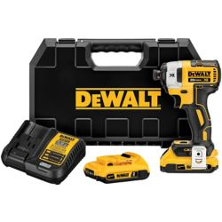 DEWALT 20V MAX XR Li-Ion Cordless Brushless 1/4-inch 3-Speed Impact Driver w/ (2) Batteries 2Ah, Charger and Case