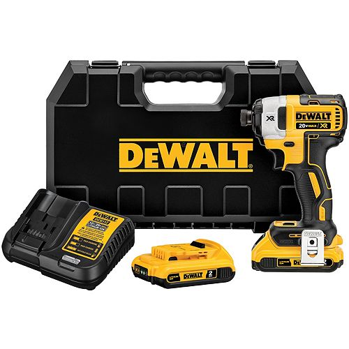 DEWALT 20V MAX XR Li-Ion Cordless Brushless 1/4-inch 3-Speed Impact Driver with (2) Batteries 2Ah, Charger and Case
