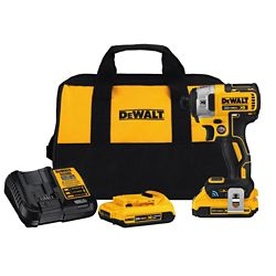 DEWALT 20V MAX XR w/ Tool Connect Premium Brushless Li-Ion 1/4-inch Hex Impact Driver w/ 2 2Ah Batteries, Charger and Bag