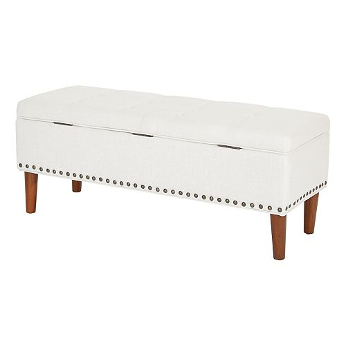 Ave Six Bryant Bench in Linen Fabric with Coffee Solid Wood Tapered Legs