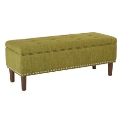 Ave Six Bryant Bench in Green Fabric with Coffee Solid Wood Tapered Legs
