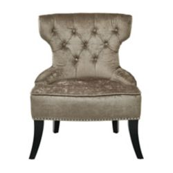 Ave Six Colton Vintage Style Button Tufted Chair in Otter Velvet