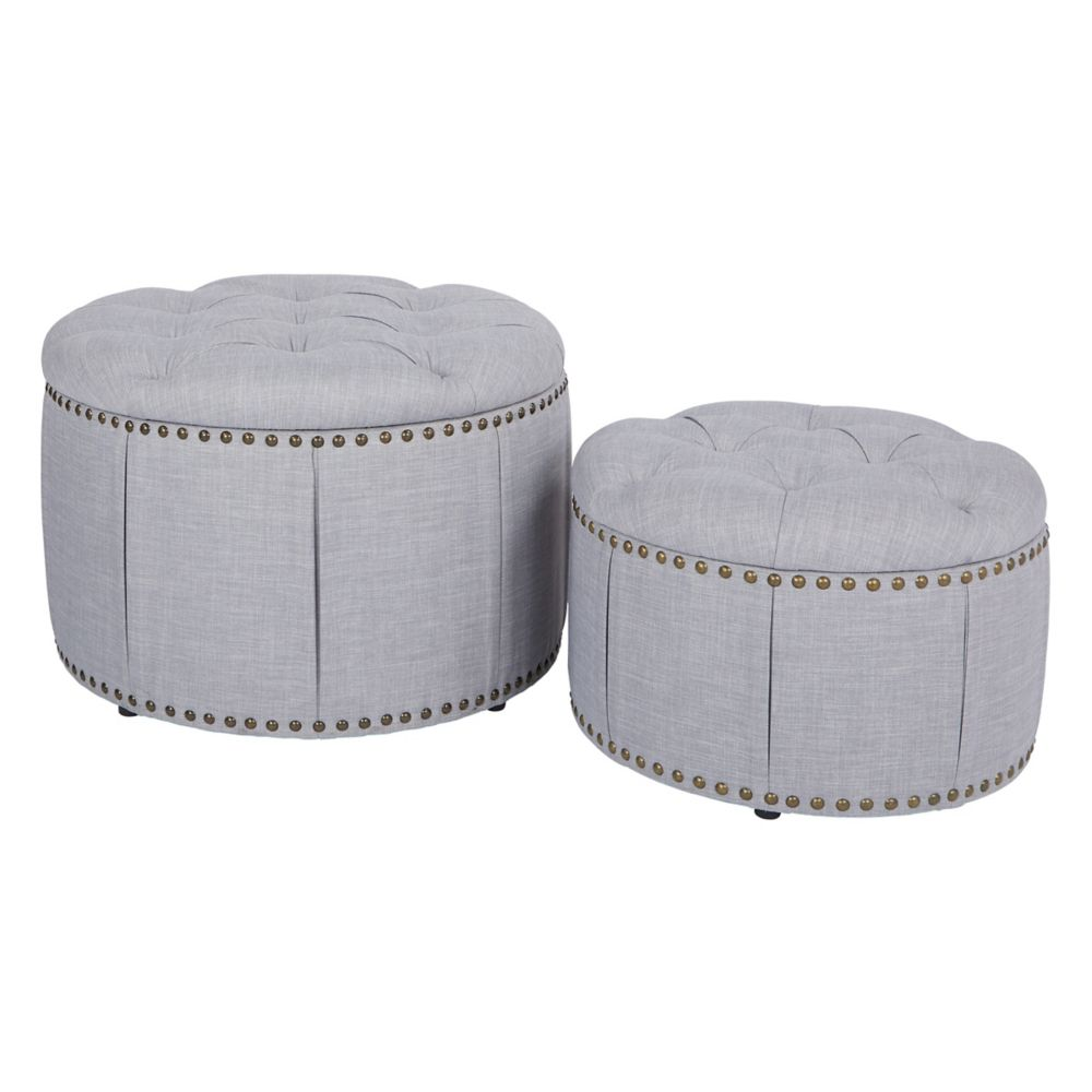 Ave Six Elsie Skirted Storage Ottoman Set in Milford Dove with Antique Bronze Nailheads